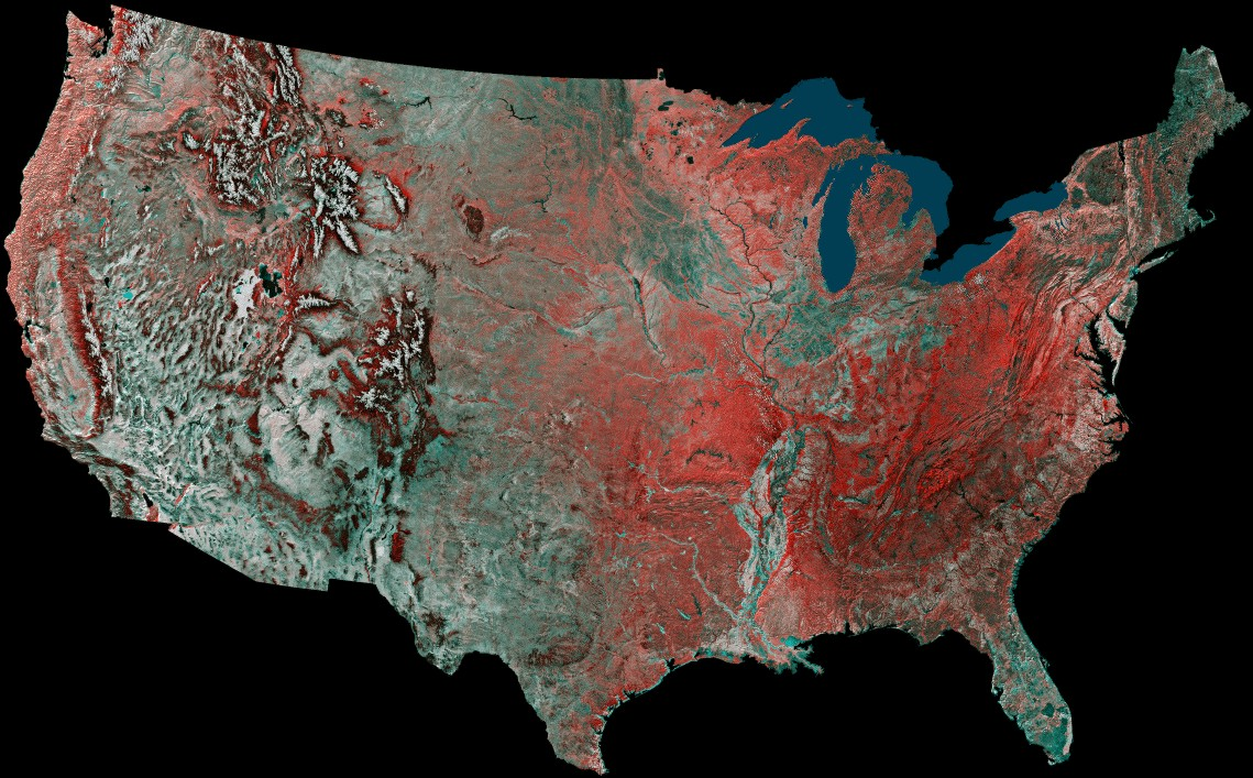 avhrr advanced very high resolution radiometer image of the us