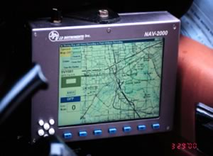 A map on the screen of a GPS.